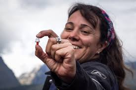 Woman biker holding up alpine earplugs.
